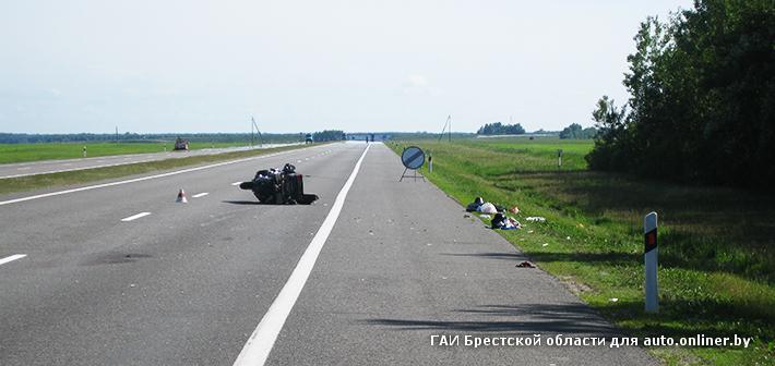Кобринский район: байкер из Москвы попал в аварию на трассе М1