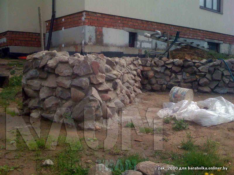 Бутовая кладка подпорной стены