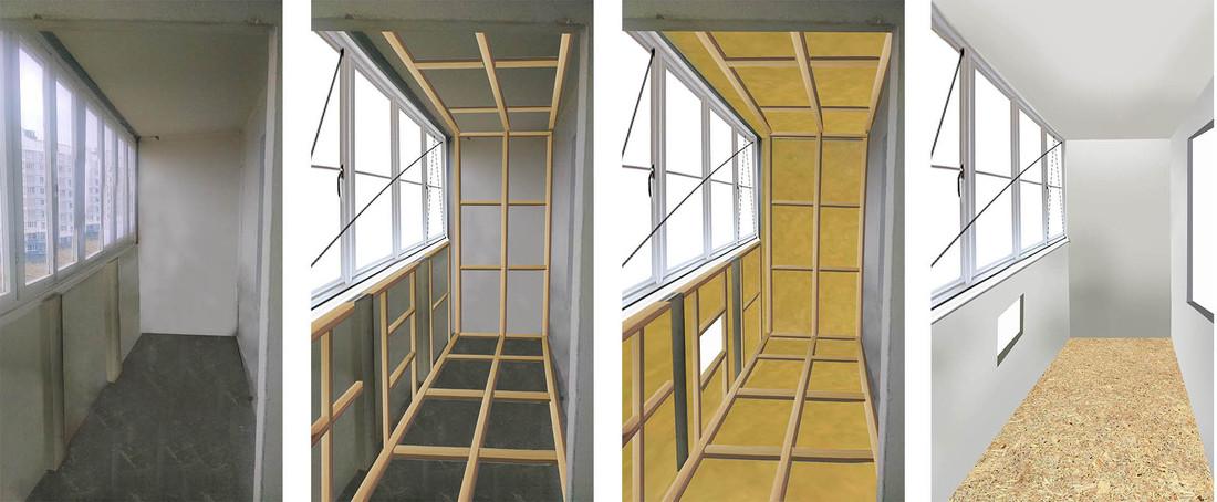 Ремонт и утепление лоджии со встроенной мебелью за 1300 долл.