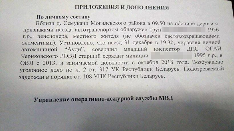 В Могилевском районе сотрудник ГАИ насмерть сбил пешехода