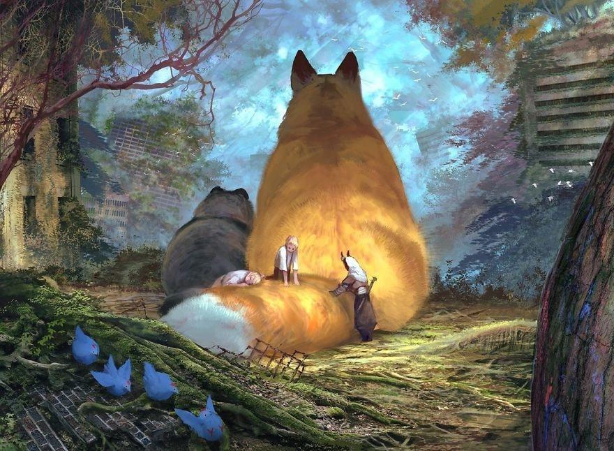 рисунки огромных котов головки