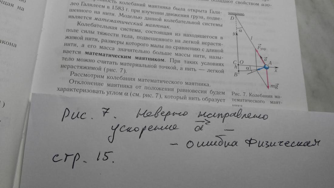 В учебнике: стр. 15, рис. 7. Неверно направлено ускорение. Оно должно быть по касательной, а не к центру. Ошибка явно физическая