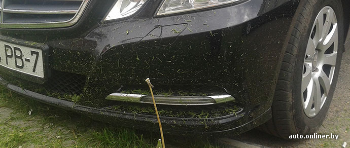 Минчанин: вокруг машины покосили траву на следующий день после мойки