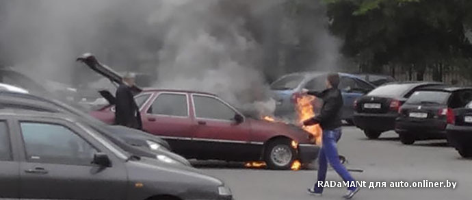 В столице водитель завел Ford — машина воспламенилась и выгорела полностью