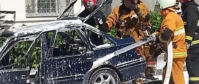 Фотофакт: на Партизанском проспекте загорелся автомобиль