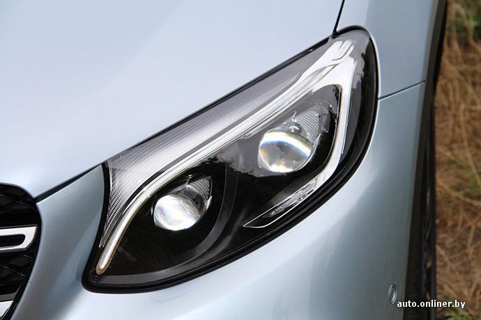 В качестве опции GLC можно оснастить светодиодными фарами с автоматическим затенением фрагмента луча, который может ослепить водителей встречных машин