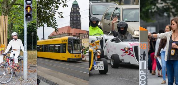 Дрезден: автомобилистов поджимают трамваи, велосипедисты и пешеходы