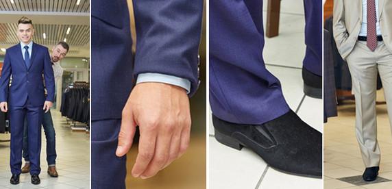 Блестящий пиджак, длинные брюки и замшевые туфли: вместе с дизайнером мужских костюмов нарядили манекен как надо и как не надо