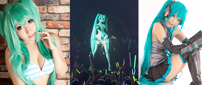 Аниме певица с голубыми волосами