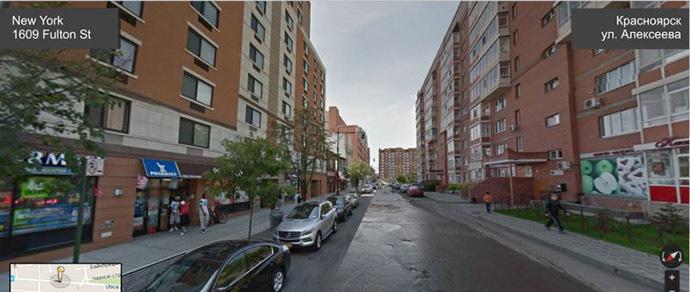 Найди 10 отличий: что получится, если на одном снимке соединить улицы Нью-Йорка и Красноярска