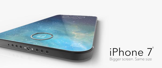 Дизайнер показал концепт iPhone 7 с экраном на всю лицевую панель