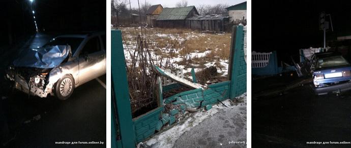 Очевидцы страшной аварии в Речице: водитель вылетел из салона, пробив забор, и получил травмы, несовместимые с жизнью