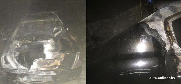На трассе М1 Maserati Quattroporte загорелся после столкновения с пешеходом