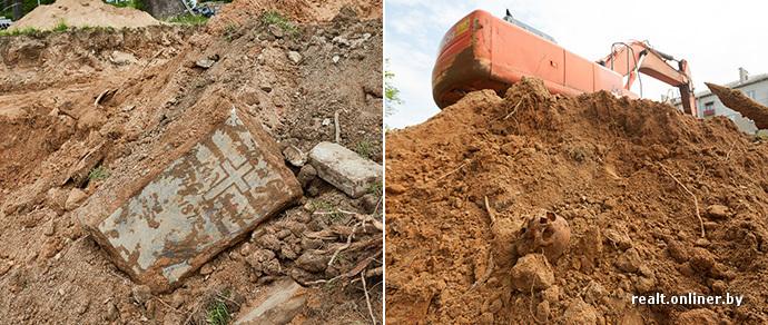 Черепа и кости под гусеницами — часть Лютеранского сквера превращают в дорогу. Минчане возмущены: «Если нужна трасса, мертвых можно подвинуть?»