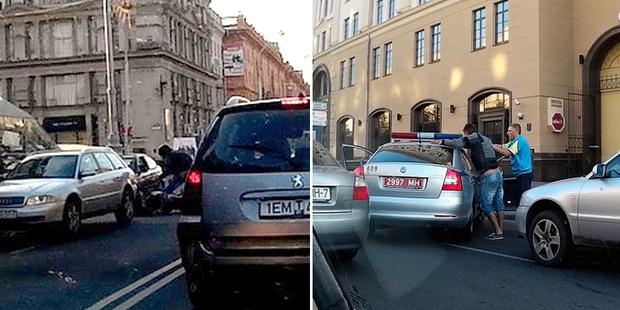 В Минске пьяный мотоциклист, пытаясь скрыться, протаранил машину ГАИ