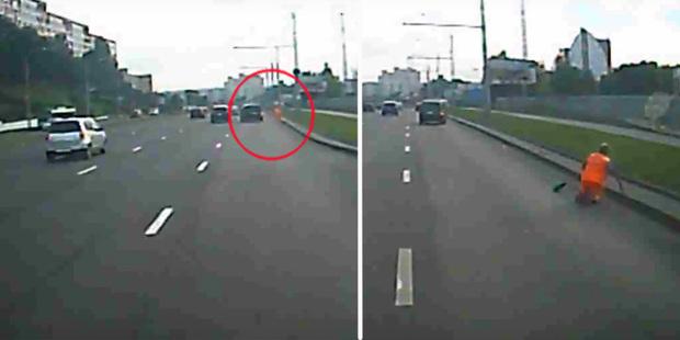 Наезд на дорожного рабочего на столичном проспекте зафиксировал регистратор