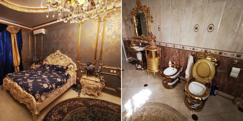 В сети появились фото дома российского сотрудника ГАИ. Там почти все из  золота (даже унитаз)