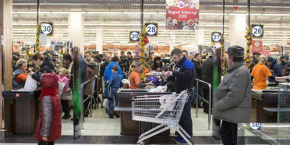 На «черную пятницу» в «Евроопте» собрались огромные очереди
