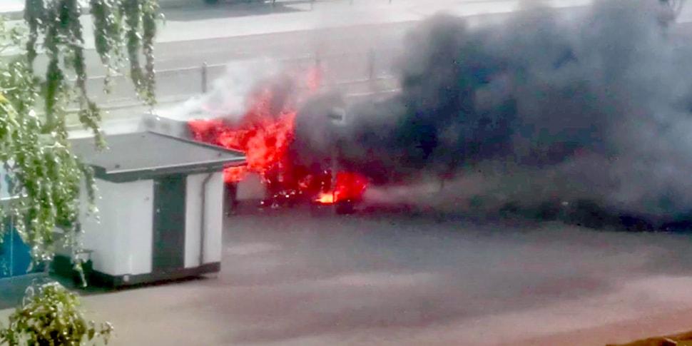 Очевидец: «В Бресте на остановке сгорела маршрутка»
