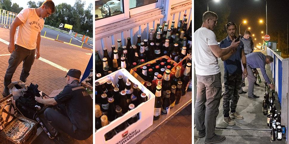 Российский блогер с компанией вез пиво через «Варшавский мост». Много пива! Пришлось раздать