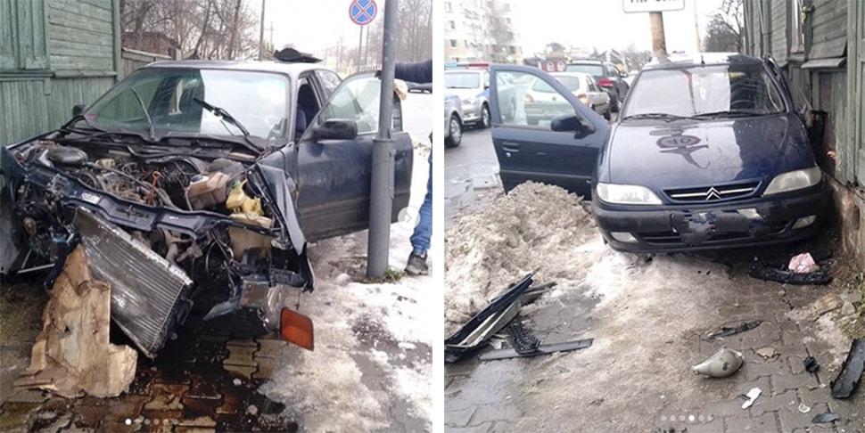 В Барановичах столкнулись два автомобиля, пострадало пять человек, трое из них — дети
