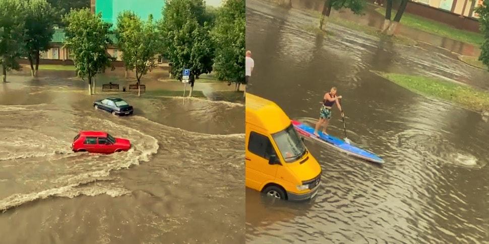 Видео: Сморгонь затопило, местные не растерялись и достали лодки