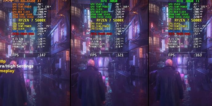 Какая видеокарта лучше: RX 6600 XT, RTX 3060 или RTX 3060 Ti?(видео)