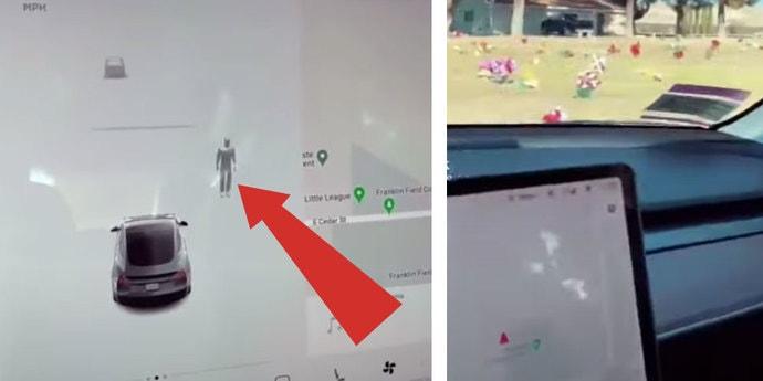 Датчики Tesla обнаружили невидимого человека на кладбище