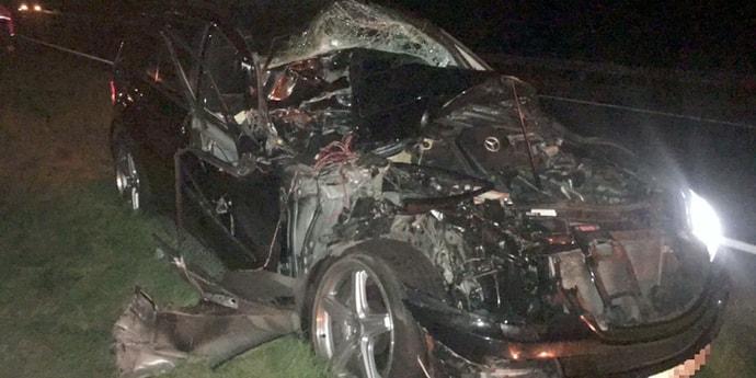 Бельгиец на Mercedes попал в аварию на М1: машина восстановлению не подлежит