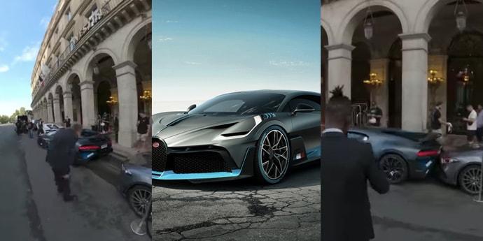 Посмотрите, как Bugatti за 5 миллионов евро паркуется «до касания» в центре Парижа