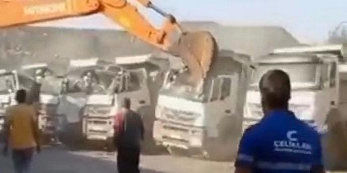 Решение трудовых споров: турецкому экскаваторщику не дали зарплату — он стал крушить грузовики. А вы?
