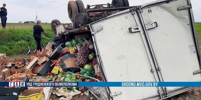 Овощная катастрофа на трассе под Гродно