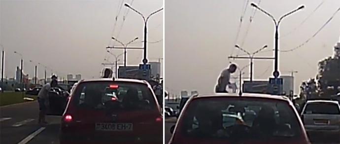 В столице пешеход прошел по капоту автомобиля в отместку за непропуск