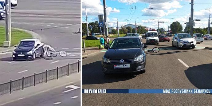 В Бресте водитель сбил велосипедистку на переезде, это попало на видео(видео)