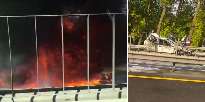 На внутренней стороне МКАД авария с горящей машиной. ГАИ ограничивает движение(видео, дополнено)