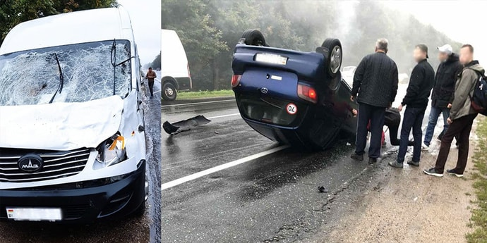 Серьезная авария на трассе под Минском: микроавтобус с пассажирами сбил лося, а Toyota и вовсе оказалась на крыше