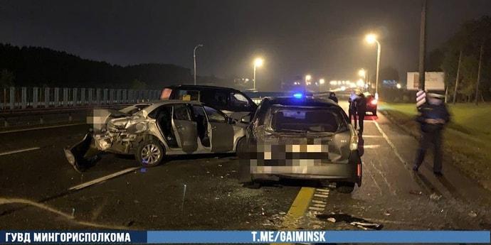 На МКАД двойная авария с участием четырех автомобилей, есть пострадавшие