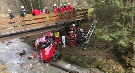 Австрия: водитель Mercedes SLS вылетел с сельской дороги в реку