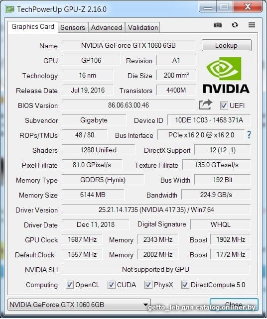 Отзывы Gigabyte GeForce GTX 1060 Windforce OC 6GB GDDR5 [GV